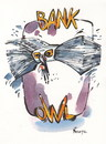 Cartoon: BANK OWL (small) by Kestutis tagged bank,owl,money,banknote