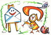 Cartoon: EASTER GREETINGS (small) by Kestutis tagged easter,greetings,letter,message,email,painter,maler,chicken,ostern