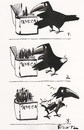 Cartoon: MARQUE PAGES (small) by Kestutis tagged rook,seneca,book,feather,strip,comic,marque,pages,birds