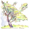 Cartoon: Montmartre apple tree (small) by Kestutis tagged montmartre apple tree kestutis siaulytis lithuania stairs treppe baum