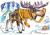 Cartoon: Moose looking for Santa Claus (small) by Kestutis tagged weihnachten santa claus moose elch winter christmas kestutis lithuania animal nature adventure