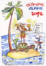 Cartoon: OLYMPIC ISLAND. Award winners (small) by Kestutis tagged award winners champion gold pirate ocean palm treasure parrot medal cup london 2012 summer kestutis siaulytis lithuania turtle