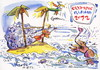 Cartoon: OLYMPIC ISLAND. Water polo (small) by Kestutis tagged water,polo,london,2012,summer,insel,squid,parrot,plastic,containers,packing,goalkeeper,island,desert,olympic,palm,sport,kestutis,siaulytis,nature,environment,ecological,animal,lithuania,ocean