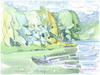Cartoon: Tree Faces (small) by Kestutis tagged summer,sketch,watercolor,kestutis,lithuania