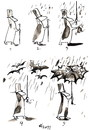 Cartoon: WALKING IN THE RAIN (small) by Kestutis tagged umbrella happeninig natura rain bat