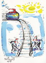 Cartoon: Winter Olympic. Curling (small) by Kestutis tagged curling,winter,olympic,sports,snow,sochi,2014,kestutis,lithuania,train