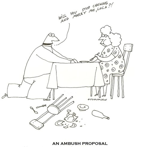 Cartoon: proposals and stuff (medium) by ouzounian tagged marriage,singles,wedding,relationship,proposal,women,men,dating,love