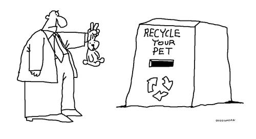 Cartoon: recycling and stuff (medium) by ouzounian tagged recycling,pets