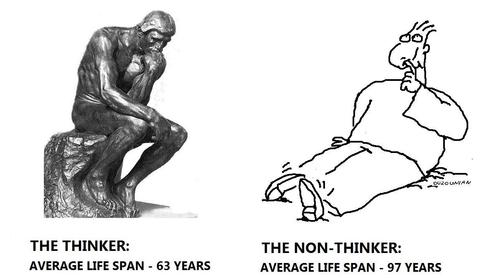 Cartoon: the thinker (medium) by ouzounian tagged sculpture,philosophy,lifespan,longevity