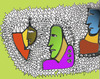 Cartoon: faces (small) by leo caraffa tagged art