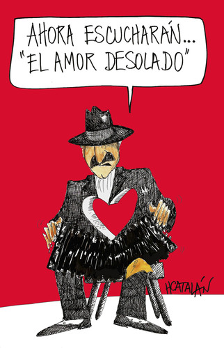 Cartoon: EL AMOR DESOLADO (medium) by HCATALAN tagged tango,amor,musica