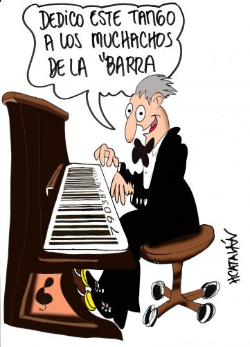 Cartoon: PARA LA BARRA (medium) by HCATALAN tagged tango,piano,codigos,de,barra