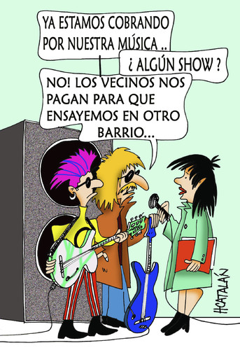 Cartoon: RUIDO (medium) by HCATALAN tagged rockeros,rock,musica,ruido,vecinos