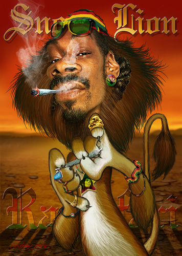 Cartoon: Snoop Lion (medium) by RodneyPike tagged rodney,pike,free,high,resolution,image,illustration,photo,photoshop,manipulation,rwpike,chop,crazy,funny,dramatic,surreal,scary,caricature,dark,painting,enhanced,exaggerated,creepy,celebrity,spoof,snoop,dogg,lion,jamaica,reggae,rastafari,rasta