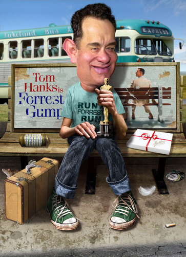 Cartoon: Tom Hanks - Still waiting on bus (medium) by RodneyPike tagged tom,hanks,movie,actor,forrest,gump,art,caricature,humor,illustration,manipulation,photo,photomanipulation,photoshop,pike,rodney,rwpike,digital,graphic,celebrity,political,satire
