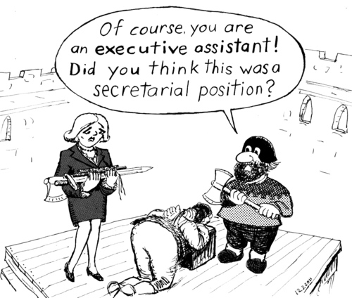 Cartoon: Executive Assistant (medium) by Alan tagged secretarial,secretary,sword,axt,execution,executioner,assistant,executive,exekutivassistentin,sekretariatsstelle,sekretärin