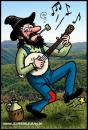 Cartoon: Dancing hillbilly playing banjo (small) by deleuran tagged hillbilly,old,time,country,music,banjo,whiskey,jug,corn,pibe