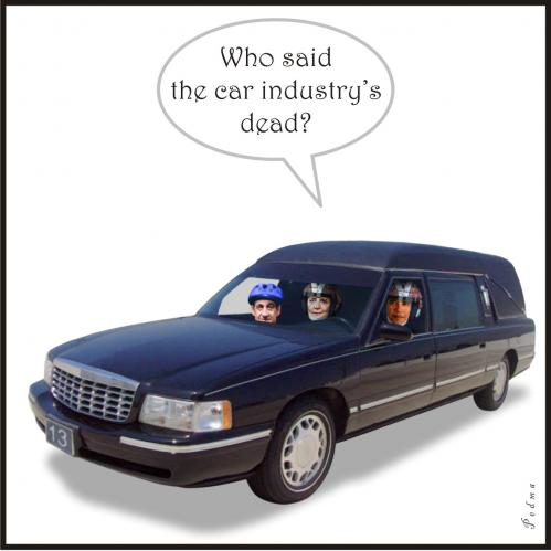 Cartoon: Lets ride! (medium) by Pedma tagged hearse,funeral,fun,sarkozy,merkel,obama,car,auto,sport,rally,bailout,economy,crisis
