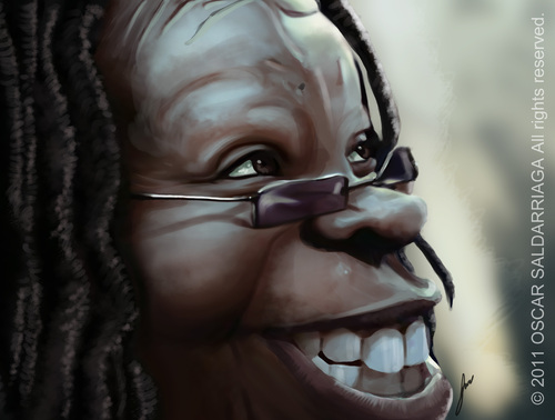 Cartoon: Whoopi Goldberg (medium) by Oscar Saldarriaga tagged colombiano,mejor,caricatura,caricature,illustrator,ilustrador,ilustracion,saldarriaga,oscar,goldberg,whoopi