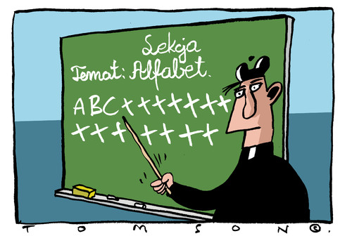 Cartoon: ... (medium) by to1mson tagged kirche,leute,lektion,lesson,lekcja,kosciol