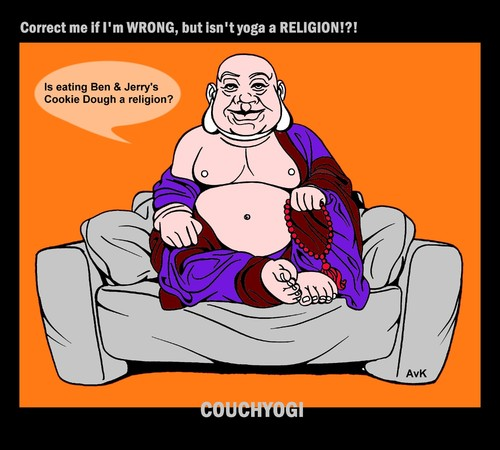 Cartoon: CouchYogi Cookie Dough (medium) by MoArt Rotterdam tagged couchyogi,couchtalk,guru,gurutalk,spiritualadvice,yoga,religion,icecream,cookiedough,wrong