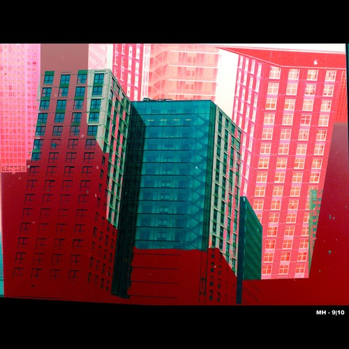 Cartoon: MH - Office Abstract III (medium) by MoArt Rotterdam tagged rotterdam,weenazuid,kantoor,kantoorgebouw,office,officebuilding,officeabstract,abstractgebouw,greenandred,roodengroen,zakenleven