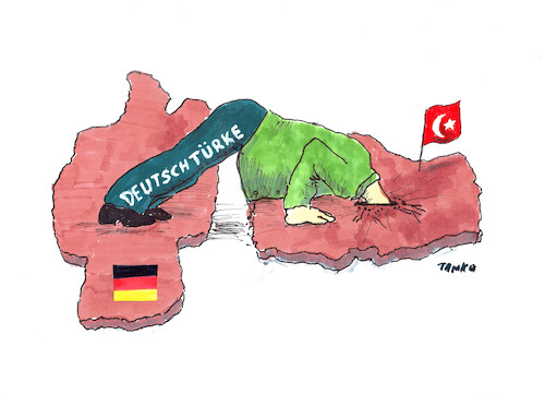 Cartoon: DEUTSCHTÜRKEN (medium) by Skowronek tagged erdogan,deutschland,türken,präsidialsystem,referendum,diktatur,wahlen