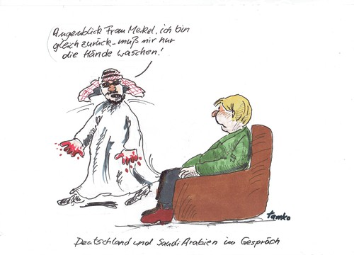 Cartoon: Saudis (medium) by Skowronek tagged islam,saudi,arabien,merkel