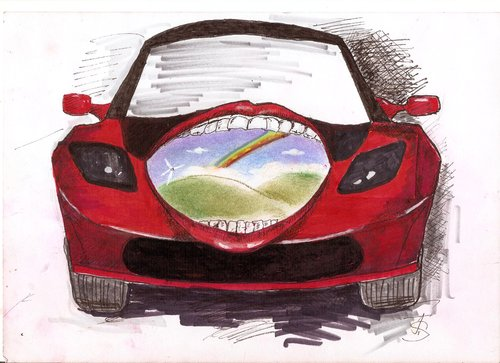 Cartoon: Tesla Roadstar (medium) by Skowronek tagged autos,elektroautos,klima,umwelt