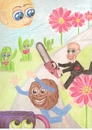 Cartoon: surreal drawing (small) by paintcolor tagged surreal,drawing,caricature,biscuit,cup,chainsaw