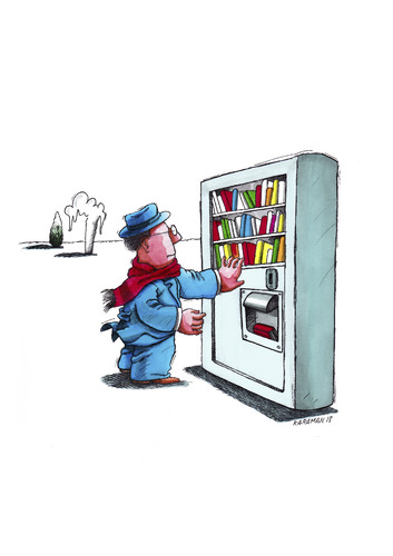 Cartoon: Buchautomat (medium) by Mehmet Karaman tagged bücher,literatur,buchautomat