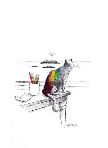 Cartoon: Katze 5 (medium) by Mehmet Karaman tagged katze