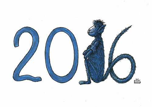 Cartoon: Year of the Monkey (medium) by Makhmud Eshonkulov tagged year,new,xmas,christmas,2016,peace