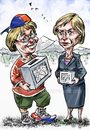 Cartoon: Bachelet_Matthei (small) by Bob Row tagged chile,bachelet,matthei,elections,politics,democracy,reforms,inequality