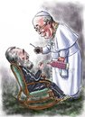 Cartoon: Castro_Francis (small) by Bob Row tagged castro,francis,guevara,cuba,religion,revolution