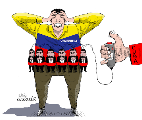 Cartoon: Cuba Maduro and Venezuela (medium) by Cartoonarcadio tagged cuba,maduro,venezuela,comunismo,latin,america