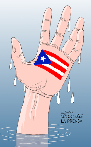 Cartoon: SOS Puerto Rico. (medium) by Cartoonarcadio tagged puerto,rico,hurricane,maria,craibbean,america