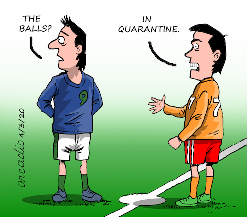 Cartoon: Sports in quarantine. (medium) by Cartoonarcadio tagged quarantine,sports,covid,19,coronavirus