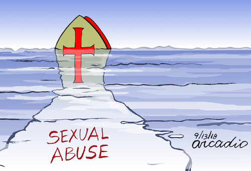 Cartoon: The tip of the iceberg. (medium) by Cartoonarcadio tagged catholicism,the,pope,religion