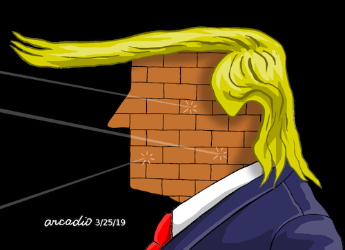 Cartoon: Trump...The impenetrable wall. (medium) by Cartoonarcadio tagged russia,usa,us,president,russian,conspiracy