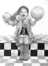 Cartoon: The little girl of the spheres. (small) by Cartoonarcadio tagged girls spheres