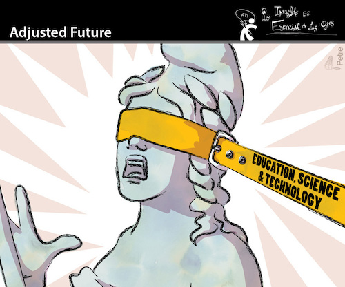 Cartoon: Adjusted Future (medium) by PETRE tagged education,politics,universities