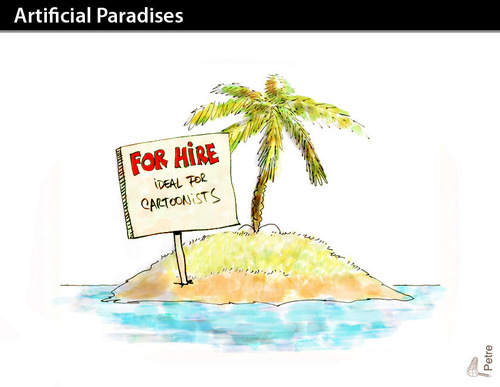 Cartoon: ARTIFICIAL PARADISES (medium) by PETRE tagged desert,island,oportunity