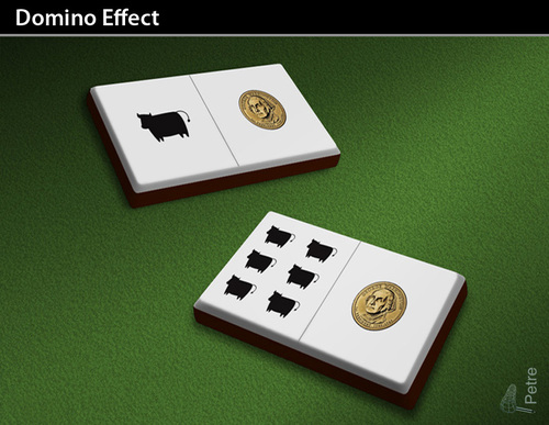 Cartoon: Domino Effect (medium) by PETRE tagged finan