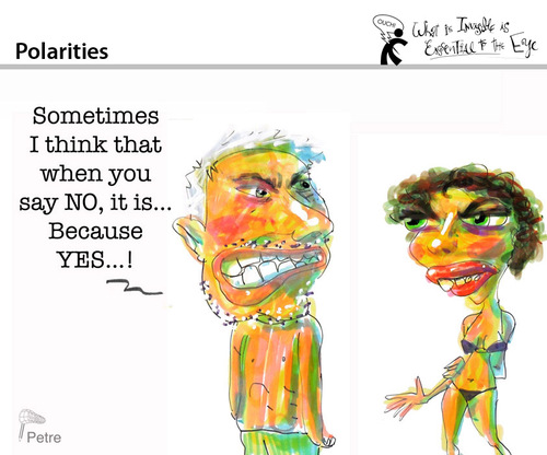 Cartoon: Polarities (medium) by PETRE tagged discussions,language