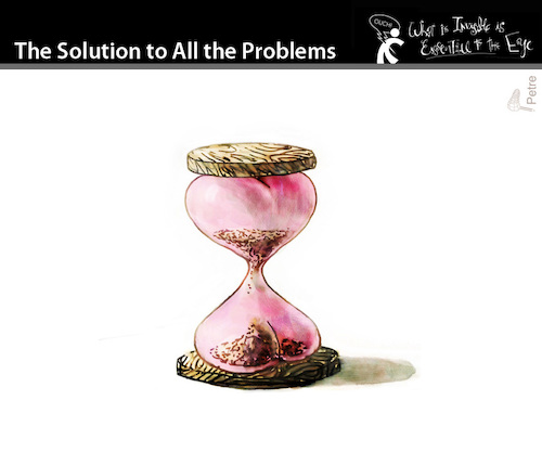 Cartoon: The Solution to all the problems (medium) by PETRE tagged love,desire,time,sandclock,the