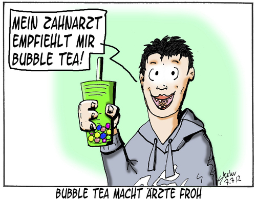 Cartoon: Bubble Tea (medium) by Matthias Stehr tagged trendgetränk,zahnarzt,tea,bubble