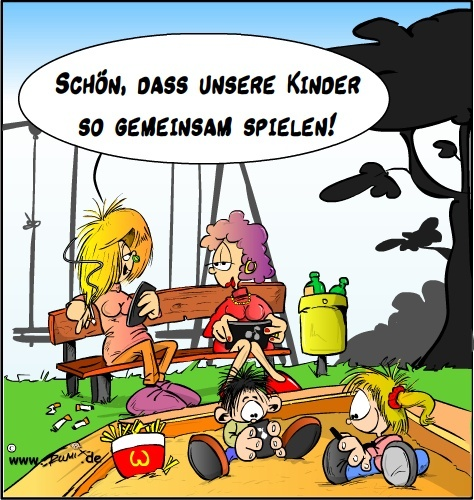 Cartoon: Soziale Kontakte  leicht gemacht (medium) by Trumix tagged smartphone,google,app,social,freezing,media,smartphone,google,app,social,freezing,media,kinder,spielen,sandkasten,mütter,bank,spielplatz