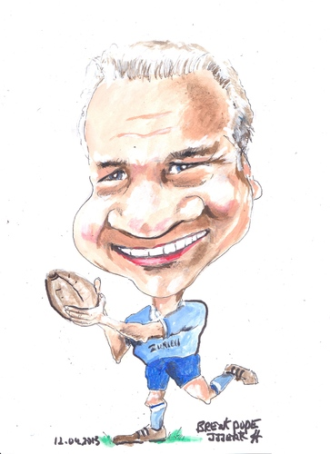 Cartoon: Brent Pope (medium) by jjjerk tagged brent,pope,new,zealand,zurich,cartoon,caricature,rugby,ireland,irish,blue,ball