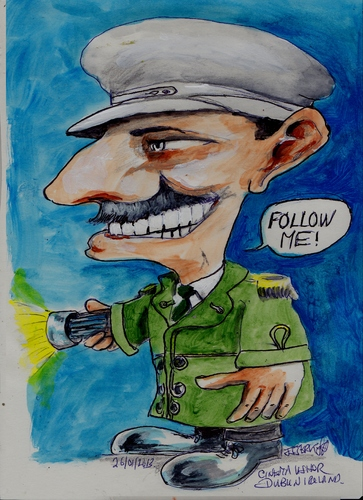 Cartoon: Follow me (medium) by jjjerk tagged ireland,irish,dublin,cinema,movie,braid,uniform,green,caricature,cartoon,usher
